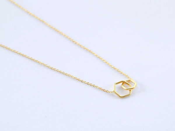 Two Hexagons Necklace gold